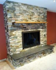 Stack stone fireplace comp